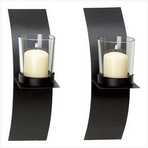 Gifts & Decor Modern Art Candle Holder Wall Sconce Plaque Set of 2