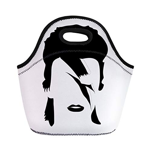 Semtomn Lunch Bags Black Rock Portrait of David Bowie British Songwriter Neoprene Lunch Bag Lunchbox Tote Bag Portable Picnic Bag Cooler Bag
