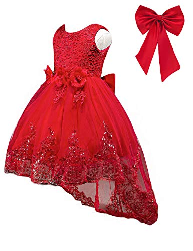 (21KIDS Elegant Sleeveless Sequins Hem Tulle Long Tail Wedding Party Princess Gown Pageant Dress Red 7-8)
