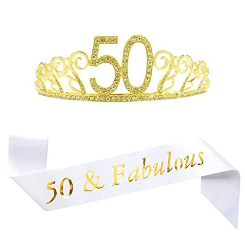50th Birthday Gold Tiara and Sash, White Glitter Satin Sash and Crystal Tiara Birthday Crown for Happy 50th Birthday Party Supplies Favors Decorations 50th Birthday Cake Topper Birthday ()
