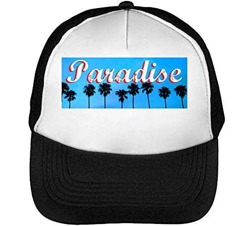 Hombre Negro Graphic Blanco Beisbol Snapback Gorras Paradise xBpfnOAB