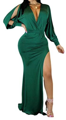 JuJuTa Womens Classic Bodycon Cold Shoulder V-Neck Sexy Side Slit Maxi Dress Green X-Small by JuJuTa