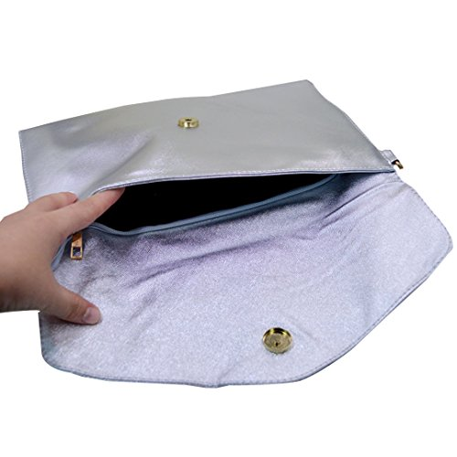 Purse Large Womens Handbag Clutch Bag Shoulder Fashion Silver Evening Leather Bag Silver Wristlet Envelope Clutch PU Meliya Bags wxXRIqw