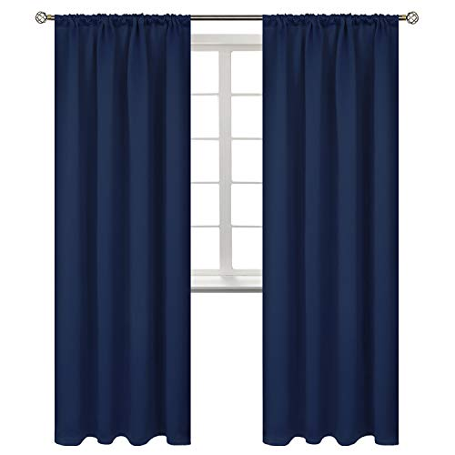 BGment Rod Pocket Blackout Curtains for Bedroom - Thermal Insulated Room Darkening Curtain for Living Room, 42 x 84 Inch, 2 Panels, Navy Blue