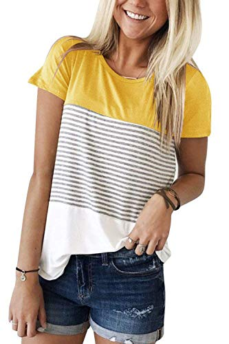(ALIBIZIA Women's Short Sleeve Triple Color Block Stripe T-Shirt Blouse 2XL Yellow)