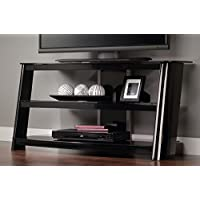 Sauder Razor Panel TV Stand, Black Finish