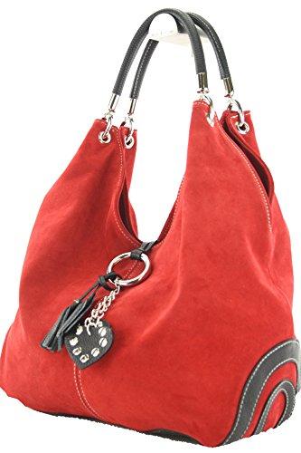 modamoda de - ital. Tasche Damentasche Handtasche Schultertasche Ledertasche Wildleder W38, Präzise Farbe:Hellcamel/Dunkelbraun modamoda de - Made in Italy