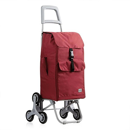 HCC& Dolly Shopping Cart Climb the Stairs Trolley Portable Multifunction High capacity Shopping Grocery Foldable Cart Rolling Swivel Wheels 30L Red by C&H