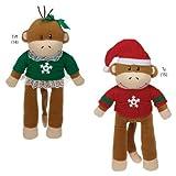Zanies Holiday Monkey Dog Toy, Business Friend Ty, My Pet Supplies