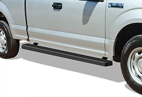 APS iBoard Running Boards 4 inches Matte Black Custom Fit 2015-2019 Ford F150 Super Cab Pickup 4-Door & 2017-2019 Ford F-250 F-350 Super Duty (Nerf Bars Side Steps Side Bars)