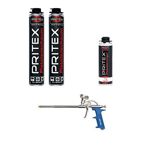 XL Set 2 x 750ml Pistolenschaum + 1 Reiniger + 1 Schaumpistole Montageschaum Bauschaum