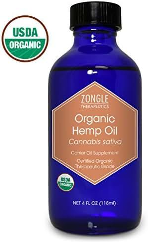 Zongle USDA Certified Organic Hemp Seed Oil, Safe To Ingest, Unrefined Virgin, Cold Pressed, 4 Oz