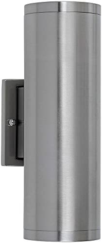 Dual Upward and Downward Outdoor Modern Cylindrical LED Wall Light 12 Brushed Nickel Finish Waterproof Exterior Integrated Lighting 3000K with No Bulbs Required