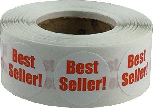 White Circle with Red Best Seller Dot Stickers, 3/4 Inch Round, 500 Labels on a Roll by InStockLabels.com
