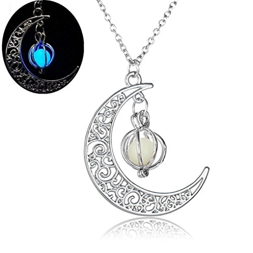 Keliay Moon shape Luminous Pumpkin Pendants Halloween Clavicle Chain Necklace Best for Gift -