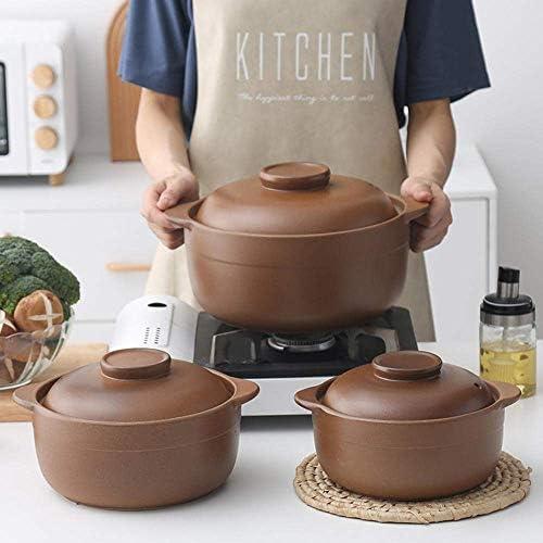 UWY Casserole Pot Casserole - Casserole Pot à ragoût Non émaillé Soupe Domestique Ragoût à l'ancienne Poterie Argile-2.5L