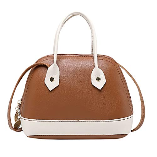 Women's Bowler Bag Pu Leather Color Matching Handbag Zipper Anti-Theft Design Briefcase Simple Casual Wild Office Ladies Daily Commute Messenger Bag (Brown)