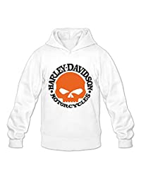 CANHL8 Harley Davidson Skull Men's Pullover Hoodie Sweatshirt White