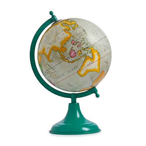 Handmade Antique Decorated Iron Stand Rotating Word Map Globe Antique Plastic Rotating Globe Decor Table Top Globe ()