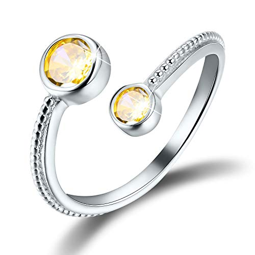 Esberry 18K Gold Plated 925 Sterling Silver Birthstone Ring CZ Adjustable Rings for Women and Girls