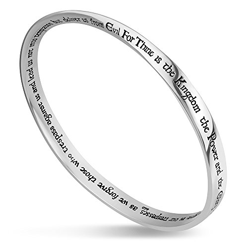 Chuvora 925 Sterling Silver Scripture Bracelet Jewelry - Lord's Prayer on Twisted Bangle