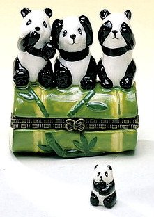 Say No Hear No See No Evil Pandas Trinket Box phb (Phb Porcelain)
