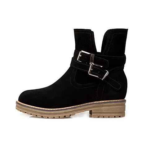 Balamasa Womens Penny-loafer Gattino-tallone Fibbia Con Fibbia Solidi Stivali Di Uretano Abl09869 Nero