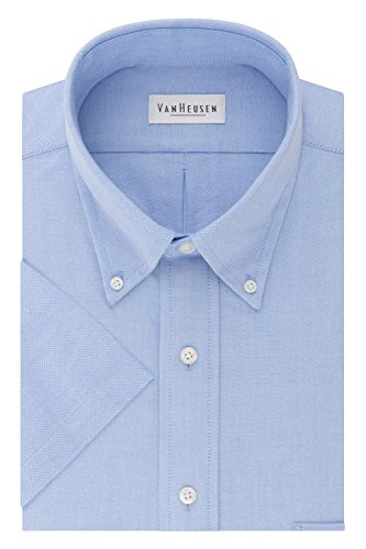 Van Heusen Men's Regular-Fit Oxford Short-Sleeve Button Down-Collar Dress Shirt, Blue, ()