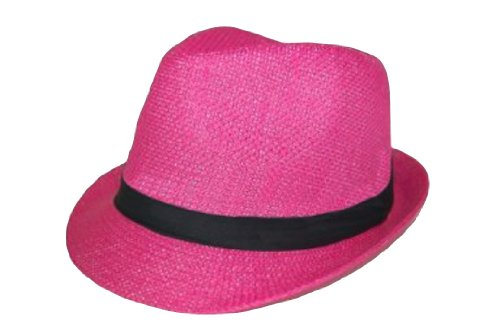 (The Hatter Co. Tweed Classic Cuban Style Fedora Fashion Cap Hat, Hot Pink)