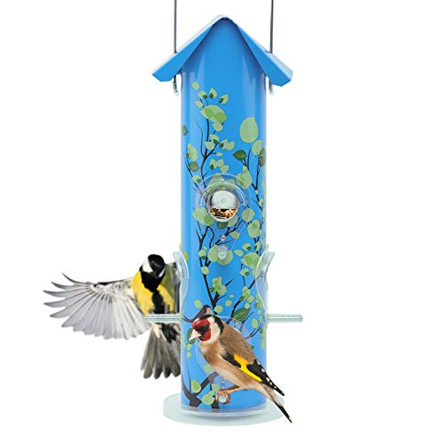 Kingsyard Bird Feeders for Outside Hanging Metal Tube Bird Feeder with 6 Feeding Ports and Perches, 1lb Seed Capacity for Finch, Cardinal