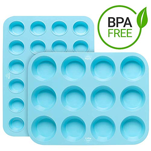 Silicone Mini and Large Egg Muffin and Cupcake Pan 12 24 Tin Cup  BPA Free Non Stick Muffin Pan  100% NonToxic Professional Grade Heavy Duty 320g Silicone 12cup and 24cup pan set