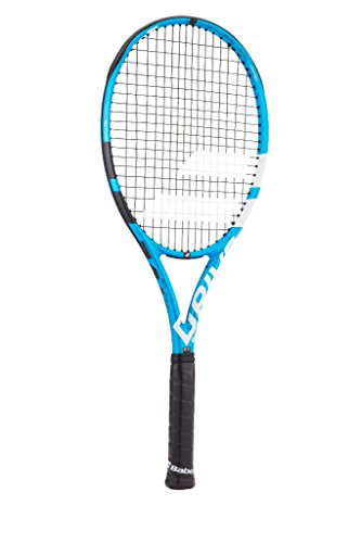 Babolat Pure Drive Team Black/Blue/White Tennis Racquet (4 3/8 Grip) Strung with Pink Color String (Best Lightweight All-Court Racket)