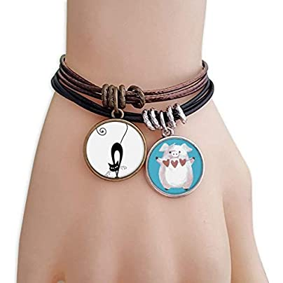 Walking Black Cat Halloween Animal Bracelet Rope Wristband Pig Heart Love Set Estimated Price £9.99 -