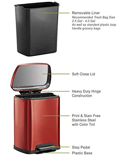 Tramontina 81200/553DS Rectangular Step Can Freshener System, 2.5-Gallon Trash Can, Red