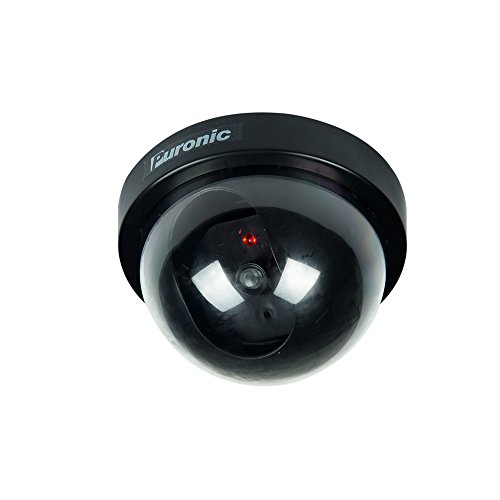 Bullet Dummy Fake Surveillance Security CCTV Dome Camera Indoor Outdoor with one LED Light + Warning Security Alert Sticker Decals (1 Pack Dome, Black)