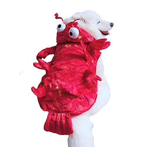 "MUYAOPET Lobster Large Dog Halloween Costumes Winter Pet Coat Clothes for Labrador Golden Retriever (XXL(Bust23.6""), -"