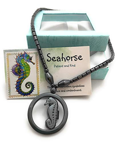 (Smiling Wisdom - Seahorse Hematite Necklace Gift Set - Spirit Animal Totem - Boys, Children, Tweens, Teens, Girls - Team Events, Ice Breakers, Party Favors - Closeout)