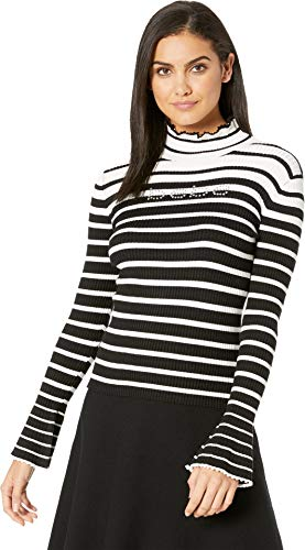 (bebe Womens Bell Sleeve Stripe Turtleneck Jet Black LG)