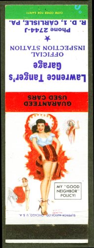 My Good Neighbor Policy pin-up matchcover Tanger's - Tanger Pa