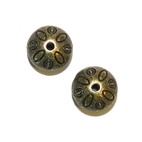 Flower Design Bead - Antiqued Bronze 9mm Bicone Rondelle w Flower Design Metal Beads 25pc