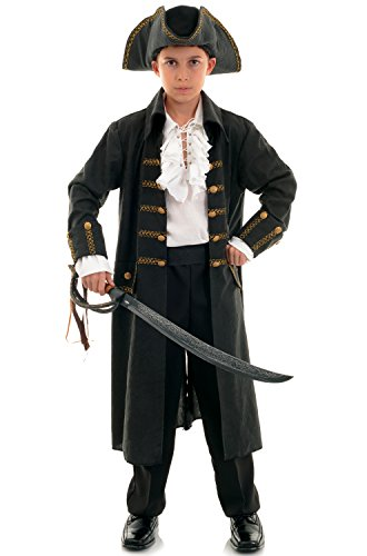 Captain Black Pirate Costume - Underwraps Big Boy's Underwraps Boy's Pirate Captain Costume - Black, Medium Childrens Costume, black, Medium