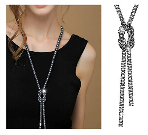 Suyi Trendy Crystal Long Necklace All-Match Style Shining Clothing Sweater Chain Black ()