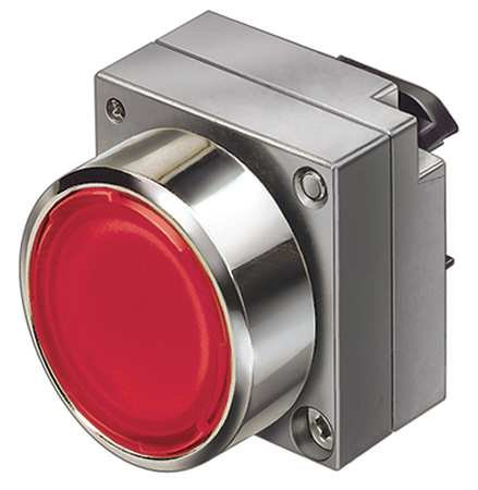 (FURNAS ELECTRIC CO 3SB3501-0AA21 PUSHBUTTON Operator, 22 MM, Illuminated, MOMENTARY, Flush, Round, Metal, RED, W/Holder)