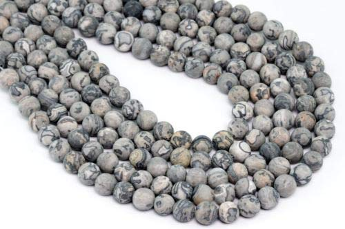 (4mm Natural Matte Grey Crazy Lace Jasper Beads Grade Round Loose Beads 15'' Crafting Key Chain Bracelet Necklace Jewelry Accessories Pendants)