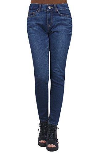Bottom Jeans Tapered Pants Ililily Skinny Waistband Cotton Denim Washed Azul Stretchy zp1pqxHw
