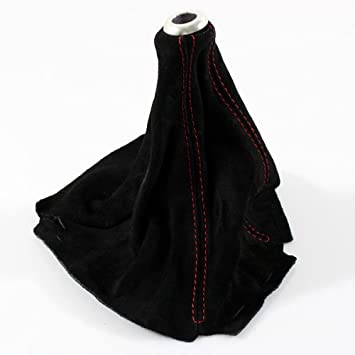 Gear Gaiter Shift Boot Black Suede With Red Stitching