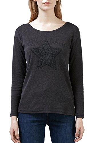 edc by Esprit 116CC1K063, Camisa de Manga Larga Para Mujer Gris (anthracite 010)