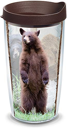 Tervis 1138437 Bear Tumbler with Wrap and Brown Lid 16oz, Clear by Tervis