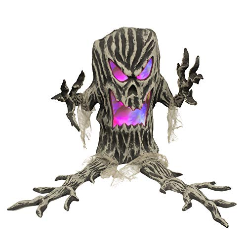 Halloween Haunters Standing Plastic Tree Stump with Spooky Face and Color Changing Strobe LED Lights Prop Decoration - Scary Aged Tree Branch Arms, Hands, Root Legs- Haunted House Graveyard Entryway -