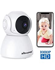 Mbuynow WLAN IP Kamera 1080P HD WiFi Überwachungskamera, Babyphone Kamera mit Nachtsicht Bewegungserkennung, 355°Schwenkbar Zwei-Wege-Audio, Nachtsicht, unterstützt Fernalarm und Mobile App Kontrolle